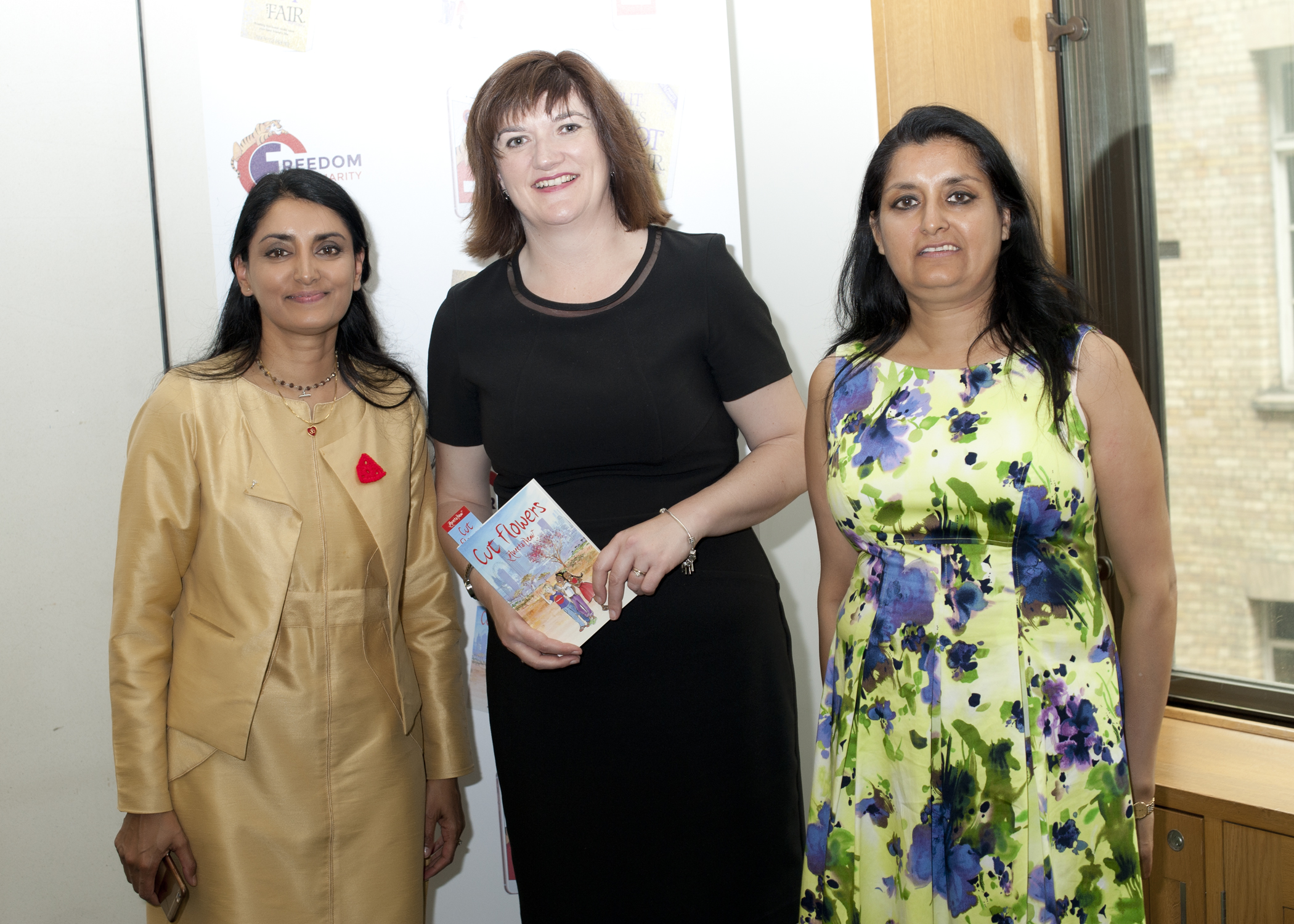 Aneeta Prem, Vineeta Thornhill and Nicky Morgan MP, Cut Flowers presentation