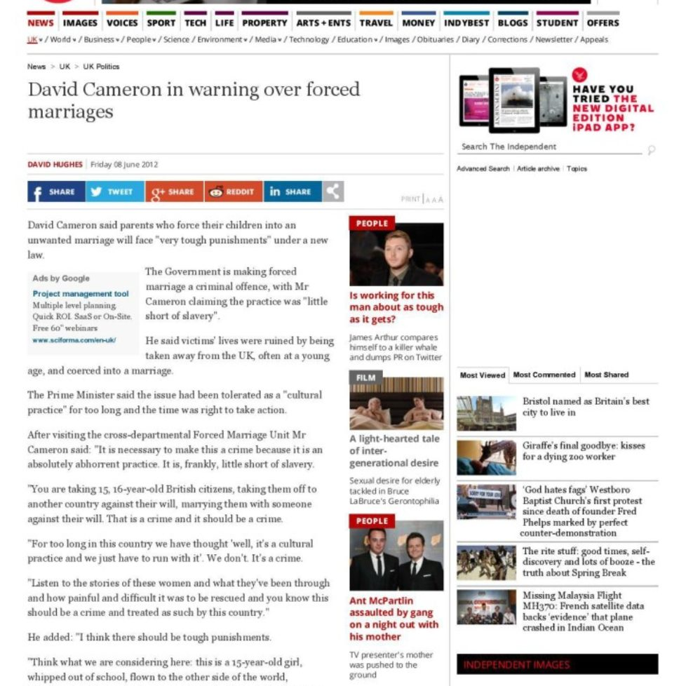 the-independent-david-cameron-in-warning-over-forced-marriages-uk-politics-uk-the-independent-page-001